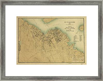 Map Of Bar Harbor Maine 1896 Framed Print by Edward Fielding