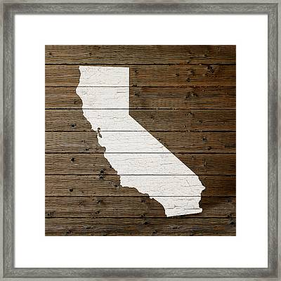 Map Of California State Outline White Distressed Paint On Reclaimed Wood Planks Framed Print by Design Turnpike