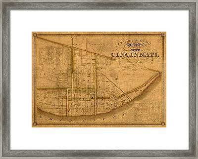 Map Of Cincinnati Ohio In 1841 On Worn Distressed Canvas Parchment Framed Print by Design Turnpike