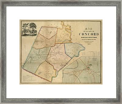 Map Of Concord 1852 Framed Print by Andrew Fare