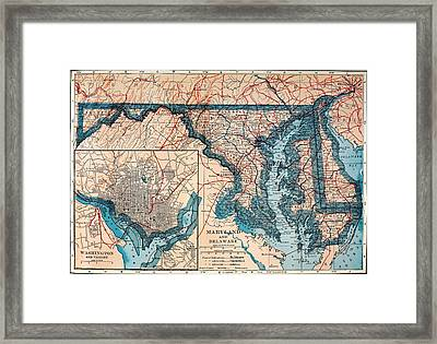 Map Of Delaware And Maryland 1921 Framed Print by Mountain Dreams