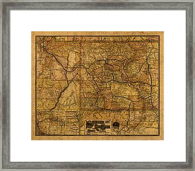 Map Of Denver Rio Grande Railroad System Including New Mexico Circa 1889 Framed Print by Design Turnpike