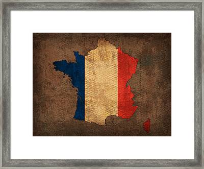 Map Of France With Flag Art On Distressed Worn Canvas Framed Print by Design Turnpike