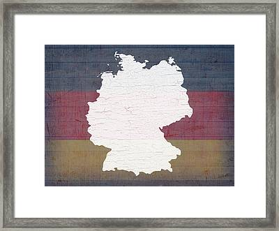 Map Of Germany In White Old Paint On German Flag Barn Wood Framed Print by Design Turnpike