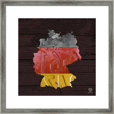 Map Of Germany Plus German Flag License Plate Art On Gray Wood Board Framed Print by Design Turnpike