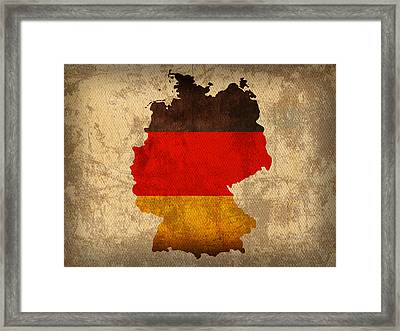 Map Of Germany With Flag Art On Distressed Worn Canvas Framed Print by Design Turnpike