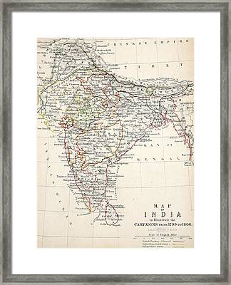Map Of India Framed Print by Alexander Keith Johnson