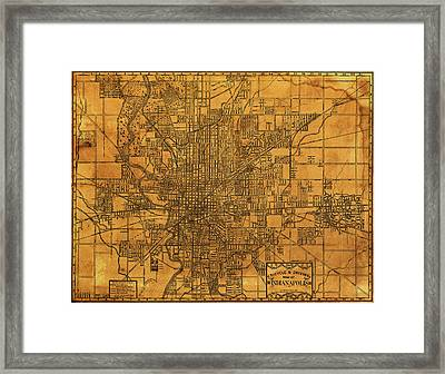 Map Of Indianapolis Vintage Bicycle And Driving Street Diagram On Weathered Parchment Framed Print by Design Turnpike