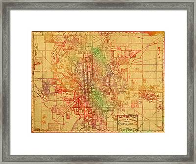Map Of Indianapolis Vintage Bicycle And Driving Watercolor Street Diagram Painting On Parchment Framed Print by Design Turnpike