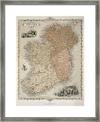 Map Of Ireland Framed Print by C Montague