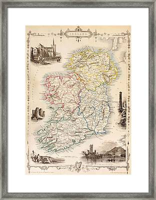 Map Of Ireland From The History Of Ireland By Thomas Wright Framed Print by English School