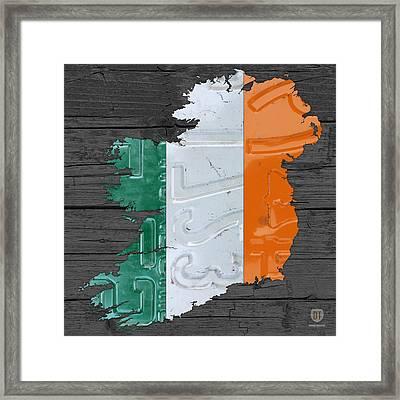 Map Of Ireland Plus Irish Flag License Plate Art On Gray Wood Board Framed Print by Design Turnpike
