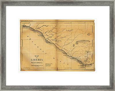 Map Of Liberia Framed Print by Library Of Congress, Geography And Map Division
