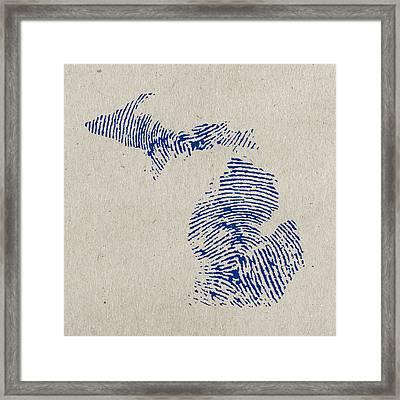Map Of Michigan Great Lake State Fingerprint Art Framed Print by Design Turnpike