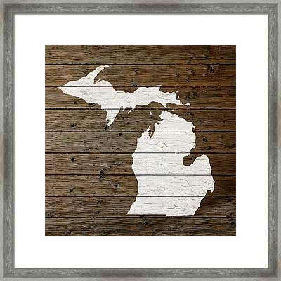 Map Of Michigan State Outline White Distressed Paint On Reclaimed Wood Planks Framed Print by Design Turnpike