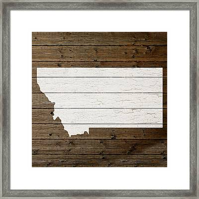 Map Of Montana State Outline White Distressed Paint On Reclaimed Wood Planks Framed Print by Design Turnpike