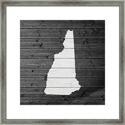 Map Of New Hampshire State Outline White Distressed Paint On Reclaimed Wood Planks Framed Print by Design Turnpike
