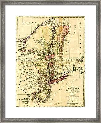 Map Of New York And New Jersey Framed Print by Pg Reproductions