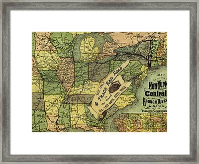 Map Of New York Central And Hudson River Railroad Routes 1876 Framed Print by Mountain Dreams