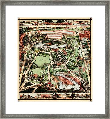 Map Of New York Citys Central Park 1860 Framed Print by MotionAge Designs