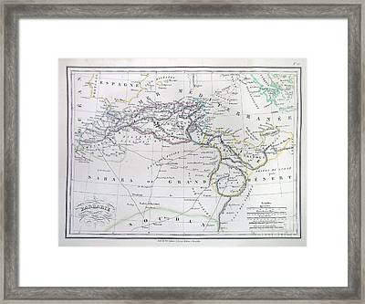 Map Of North Africa Or Barbary Framed Print by Paul Fearn