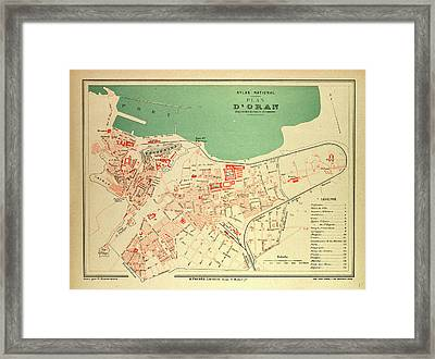 Map Of Oran France Framed Print by French School