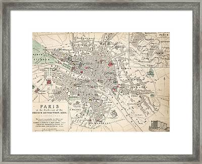 Map Of Paris At The Outbreak Of The French Revolution Framed Print by French School