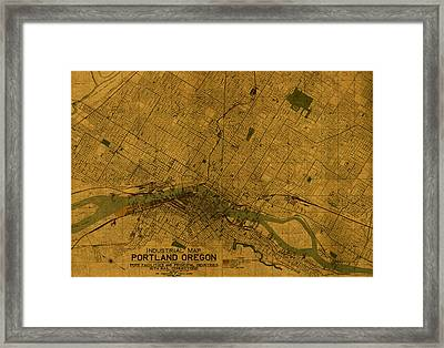 Map Of Portland Oregon City Street Schematic Cartography Circa 1924 On Worn Parchment  Framed Print by Design Turnpike