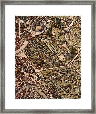 Map Of Rome Framed Print by Joan Blaeu