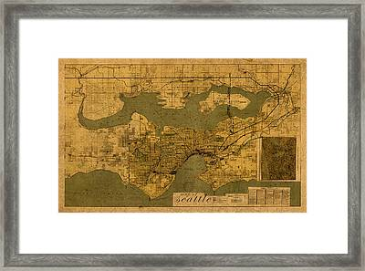 Map Of Seattle Washington Vintage Old Street Cartography On Worn Distressed Parchment Framed Print by Design Turnpike