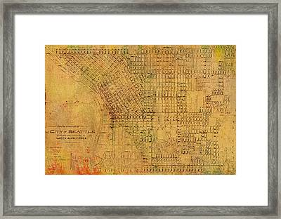 Map Of Seattle Washington Water Pipe And Street Map Vintage Hand Colored Diagram On Worn Parchment Framed Print by Design Turnpike