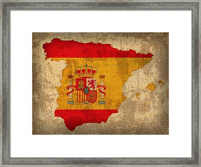 Map Of Spain With Flag Art On Distressed Worn Canvas Framed Print by Design Turnpike