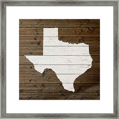 Map Of Texas State Outline White Distressed Paint On Reclaimed Wood Planks Framed Print by Design Turnpike