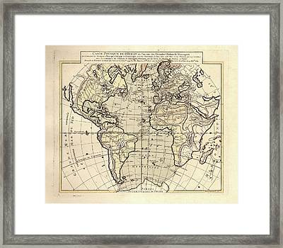 Map Of The Atlantic Ocean Framed Print by Library Of Congress, Geography And Map Division