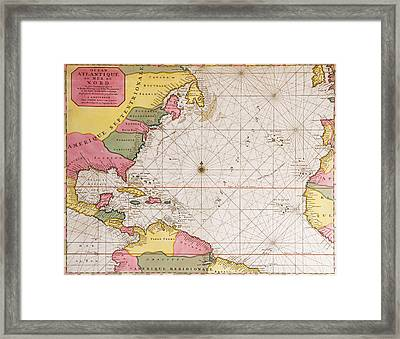 Map Of The Atlantic Ocean Showing The East Coast Of North America The Caribbean And Central America Framed Print by French School