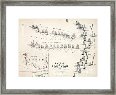 Map Of The Battle Of Trafalgar Framed Print by Alexander Keith Johnson