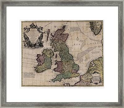 Map Of The British Isles Framed Print by Library Of Congress, Geography And Map Division