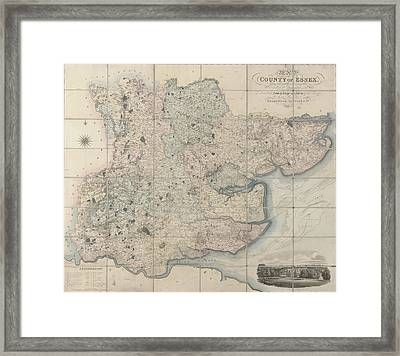 Map Of The County Of Essex Framed Print by British Library
