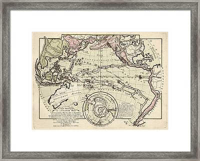 Map Of The Pacific Ocean Framed Print by Library Of Congress, Geography And Map Division
