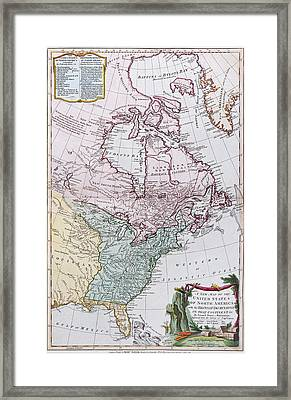 Map Of The Usa And The British Dominions In North America Framed Print by English School