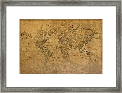 Map Of The World In 1784 Latin Text On Worn Stained Vintage Parchment Framed Print by Design Turnpike