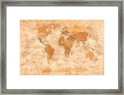 Map Of The World Framed Print by Michael Tompsett