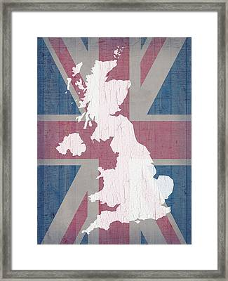 Map Of United Kingdom And Union Jack Flag On Barn Wood Framed Print by Design Turnpike