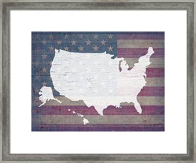 Map Of United States In White Old Paint On American Flag Barn Wood Framed Print by Design Turnpike