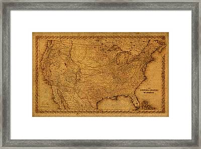 Map Of United States Of America Vintage Schematic Cartography Circa 1855 On Worn Parchment  Framed Print by Design Turnpike