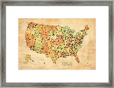 Map Of United States Of America With Crystallized Counties On Worn Parchment Framed Print by Design Turnpike