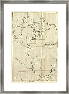 Map The Upper Mississippi To Itasca Lake Framed Print by Litz Collection