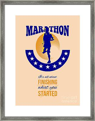 Marathon Runner Finishing Retro Poster Framed Print by Aloysius Patrimonio