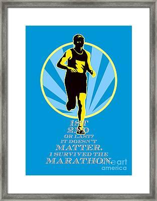 Marathon Runner First Retro Poster Framed Print by Aloysius Patrimonio