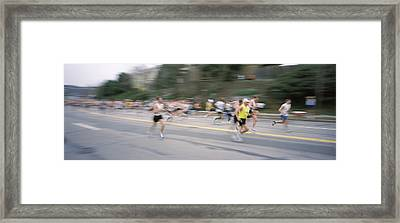 Marathon Runners On A Road, Boston Framed Print by Panoramic Images